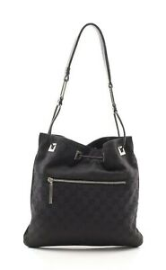 Gucci Tote 001 4021 Women's Black Nylon Canvas Shoulder Bag Purse GG Logo
