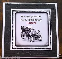 Mens Male Handmade Personalised Birthday Card Vintage Car friend cousin ANY AGE