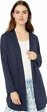 Natori TAO Navy Blue Rayon Polyester Knit High Low Open Topper Cardigan Robe XL