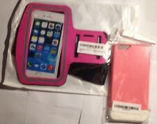 "2 Piece Lot Iphone 6 Plus 5.5"" Tpu Hardshell Case And Sport Armband Both Pink"