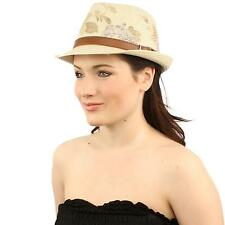 Ladies Floral Print Belted Hatband Summer Fedora Trilby Hat 57cm Natural Navy