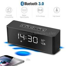 Portable Bluetooth Bass Speaker Alarm Clock FM Radio AUX USB TF MP3 Rechargeable