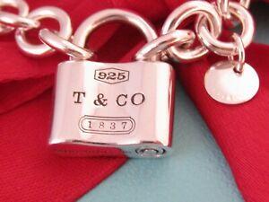 "Tiffany & Co Silver 1837 Padlock Charm Bracelet 7"""