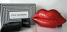 New Boxed Genuine Perspex Lulu Guinness Lips Clutch bag Glitter Red