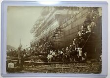 Amazing WWI Era 1920s Imperial Japan Original Photograph Large Ship Boat Natives