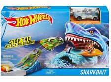 Brand New Hot Wheels Shark Bait Toy Track Play Set Silver Yellow Race Car
