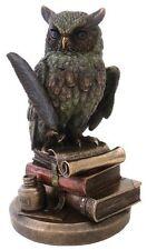"9"" Eagle Owl on Book Statue Figurine Wild Life Animal Figure Wisdom Knowledge"