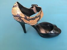 M&S Women Limited Edition Black/ Snake Skin Shoes Size 3.5