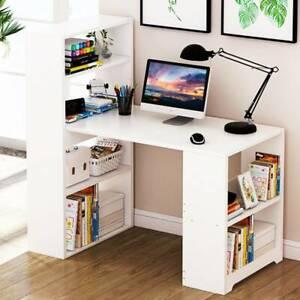 Corner Computer Desk H Shaped Laptop Gaming Table Book Shelves Bookcase White UK