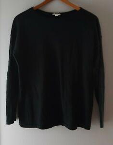 J. Jill Women's Size Medium black Merino Wool Knit Pullover Long Sleeve Sweater
