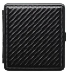 Zigarettenetui CarbO B, schwarz , PU Leder, Carbon Design Neu