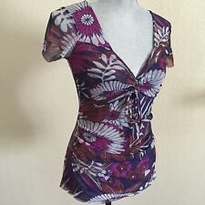SWEET PEA Stacy Frati Large L Purple Pink Flower Floral Short Sleeve Blouse Top