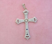 "ANTIQUE ART DECO DIAMOND SAPPHIRE PLATINUM RELIGIOUS 1.5"" CROSS PENDANT 1930"
