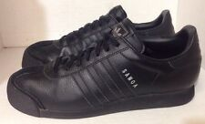 ADIDAS SAMOA LEATHER SHOES size 11 all black with Silver logos