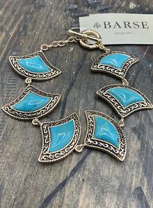 Barse Jordan Toggle Bracelet- Turquoise- Bronze- NWT