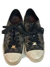 Coach Women's Empire Sneakers Tennis Shoes Signature Canvas Black Size 6.5 B