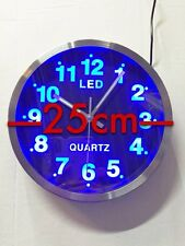 Bleu LED Horloge Murale Montre Design Quartz Analogue Rond 25cm