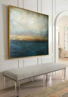 Blue Canvas Painting Abstract sea Marine Art Large acrylic Art Original Artwork