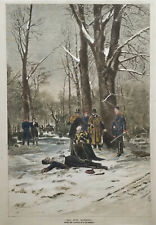 """1881 Engraving """"All For Nothing"""", depticting a duel"""