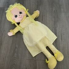 Vtg Cuddle Wit Cloth Rag Doll Yellow White Plush Stuffed Blonde Girl Gingham