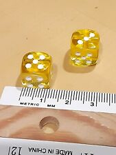 Two Translucent Acrylic Yellow Dice With White Pips Round 12mm Backgammon Game