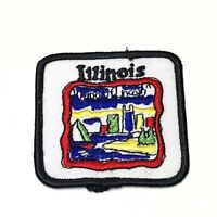 Vintage Embroidered Iron On Patch Illinois State Land Of Lincoln Square Emblem