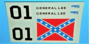 """Vintage DECAL SHEET for 1980 MPC - Dukes of Hazzard """"GENERAL LEE"""" Model Kit 1/25"""