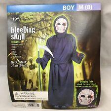 Bleeding Skull Halloween Costume New Boys Medium Sz 8 6 Pieces Robe Mask Belt