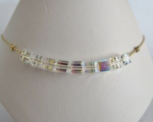 Crystal AB Cube Anklet made with Swarovski & 14kt GF Chain - 25cms