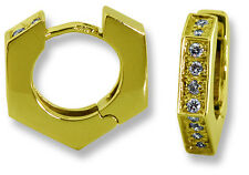 Hexagon Shape Hinged Huggie Earrings 14k Yellow Gold CZ's