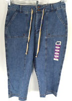 Riders by Lee Capri Jeans Womens size 18 M Medium Wash Cargo Cropped NWOT Denim