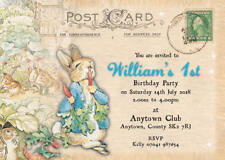 Personalised Birthday invitations Boy Peter Rabbit postcard inc envelopes