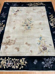 8' x 10' Chinese Art Deco Oriental Rug - Full Pile - Hand Made - 100% Silk