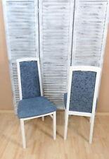 2x Esszimmerstühle Massivholz Buche Esszimmerstuhl Stühle Farbe: Weiß/Aquamarin