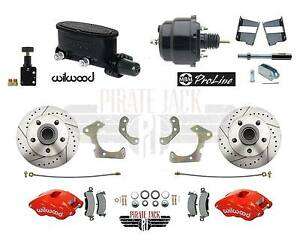 """WILWOOD DISC BRAKE KIT,FRONT,58-70 IMPALA FOR CPP 2/"""" DROP,13/"""" DRILLED ROTORS,BLK"""