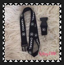 Chanel black and white lanyard key holder ID