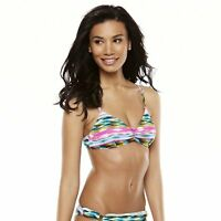 Sessa Womens Size Large XLarge Multi Watercolor Stripe Swim Bikini Top NEW