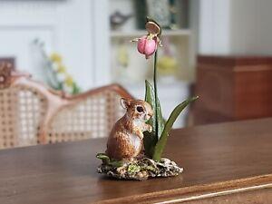 Dollhouse Miniature Artisan Early Mary McGrath Bunny Rabbit Flower Signed 1:12