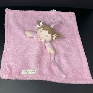 Blankets & Beyond Pink Girl Doll Lovey Brown Hair Security Blanket FAST SHIP