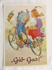 Karikatur ScherzKarte Gib Gas Fahrrad A. Lengauer Verlag 3135a unbeschrieben 10