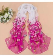 Rose Pink White Spring Flowers Floral Butterfly Scarf Soft Wrap Long Shawl