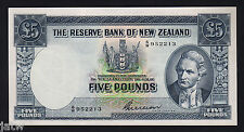 NEW ZEALAND P-160b. 5 Pound (1955-56). Wilson signature.. Prefix 6/W..  EF