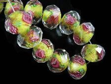 8pcs Lemon Yellow Rondelle Faceted Glass Crystal Rose Flower Inside Beads 12mm