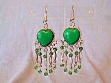 GREEN HEART SHAPED AND SILVER TONE DROP DANGLE HOOK EARRINGS WITH CLEAR GREEN BE