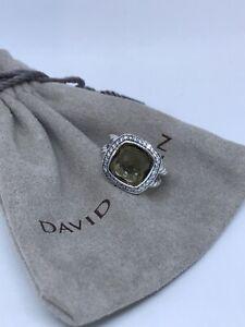 David Yurman Sterling Silver Albion 11mm Smoky Topaz Diamond Ring Size 7