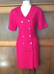 M&S St Michael Ladies Retro Vintage Smart Double Breasted Dress Size 12