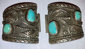 Vintage Navajo Sterling Silver Russell  Turquoise Watch Band Ends Mens