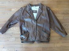 WOMEN'S TOSKANA BROWN LEATHER JACKET SIZE MEDIUM BUTTON FRONT- GREAT CONDITION