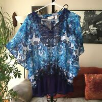CHICOS sz 1 / M Blue & Silver Waves Print Shirred Waist Batwing Top