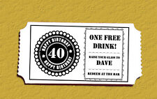 """Personalised Ticket Style """"Free Drink"""" Tokens For Birthdays! 5 Colours"""